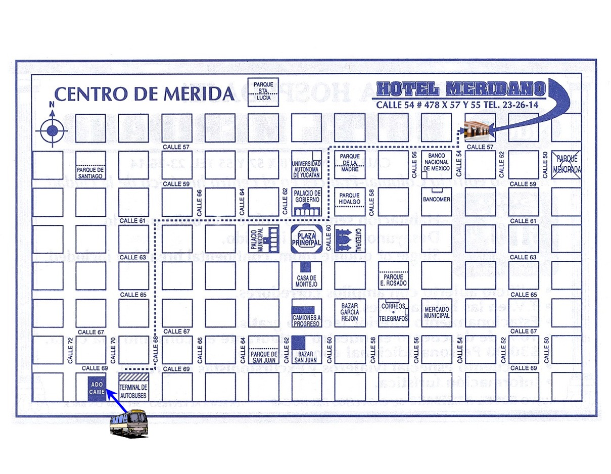 Map Hotel Meridano to Merida bus station CAME 1st Class