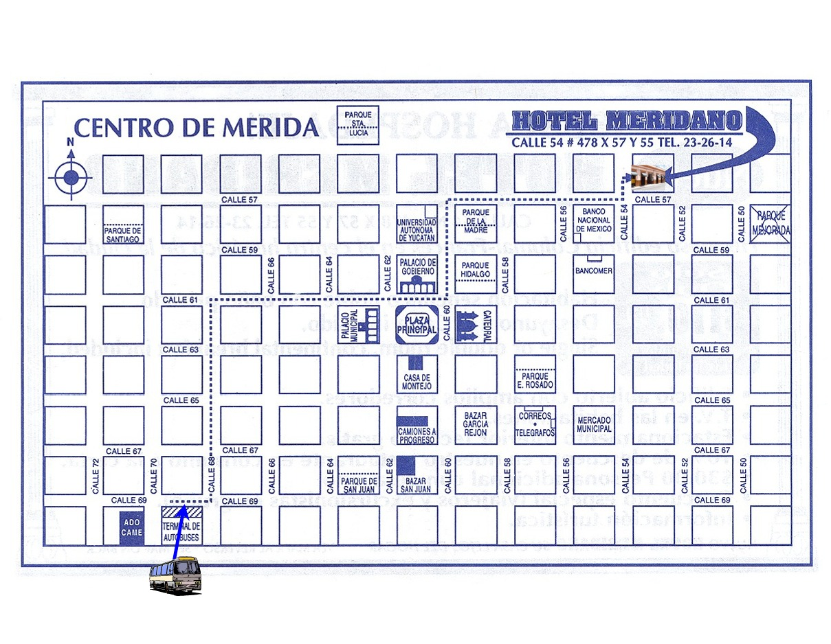 Large Map Hotel Meridano to Merida bus station CAME 2nd Class